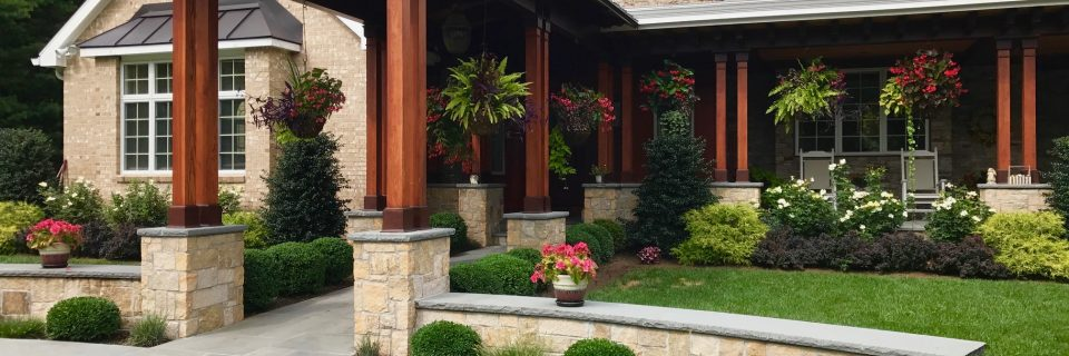 front entrance walkway and landscape plantings
